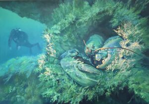 'Wreck Dwellers', Cathy Taylor, Oil and gold leaf on canvas, 59 x 84 cm