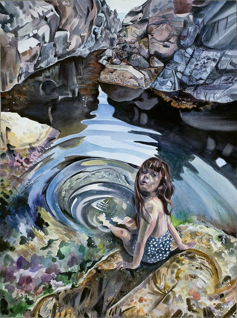 'Circe at her Pool', Charlie Buchanan, Watercolour on paper, 74 x 55 cm