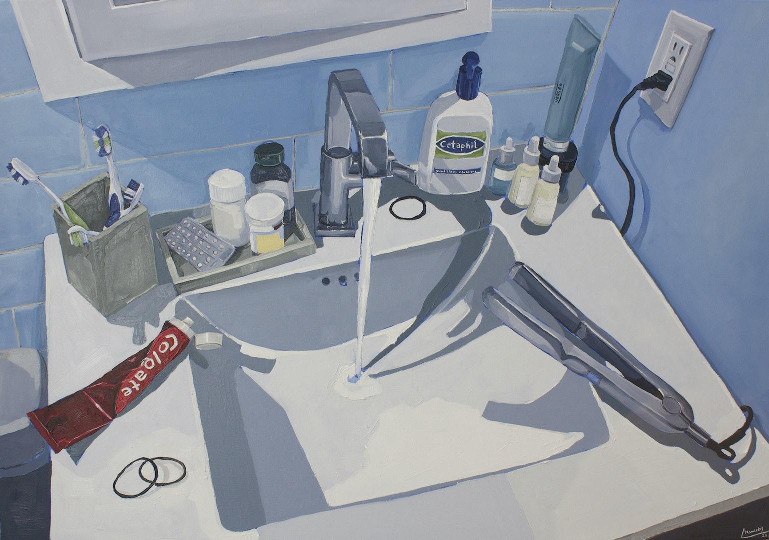 'Bathroom Sink', Chloe Chlumecky, Oil on canvas, 81 x 117 cm