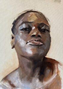 'Portrait of a young woman', Chris Longridge, Oil on canvasboard, 40 x 30 cm