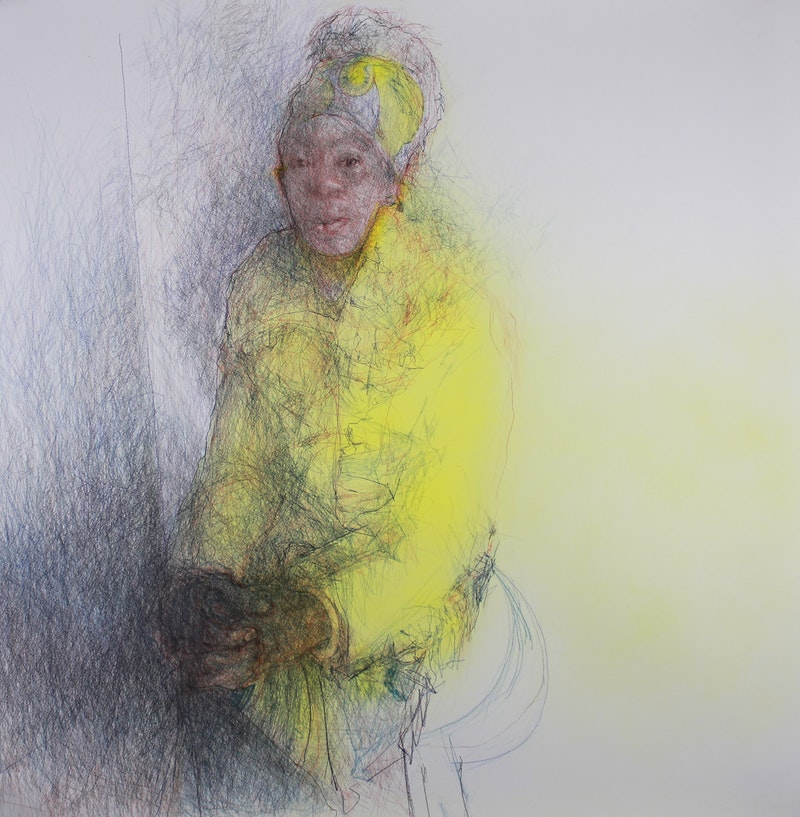 'Caron in sunshine', Curtis Holder, Colour pencil and acrylic gouache, 115 x 110 cm