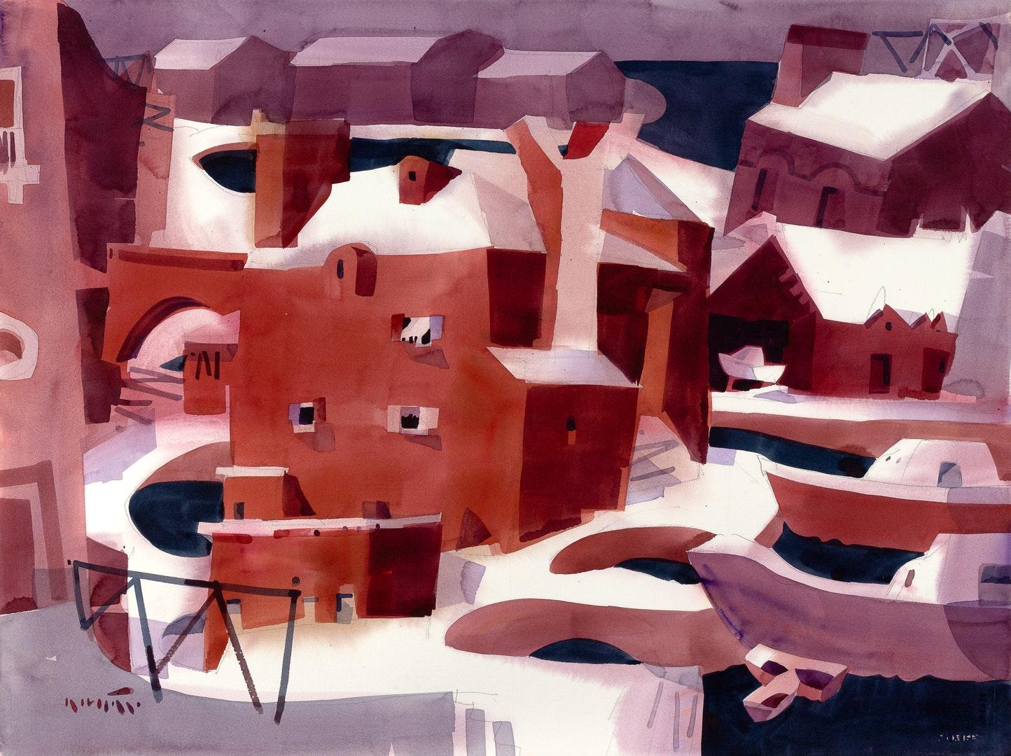 'Chioggia Reimagined', Daniel Novotny, Transparent watercolor on paper, 56 x 76 cm