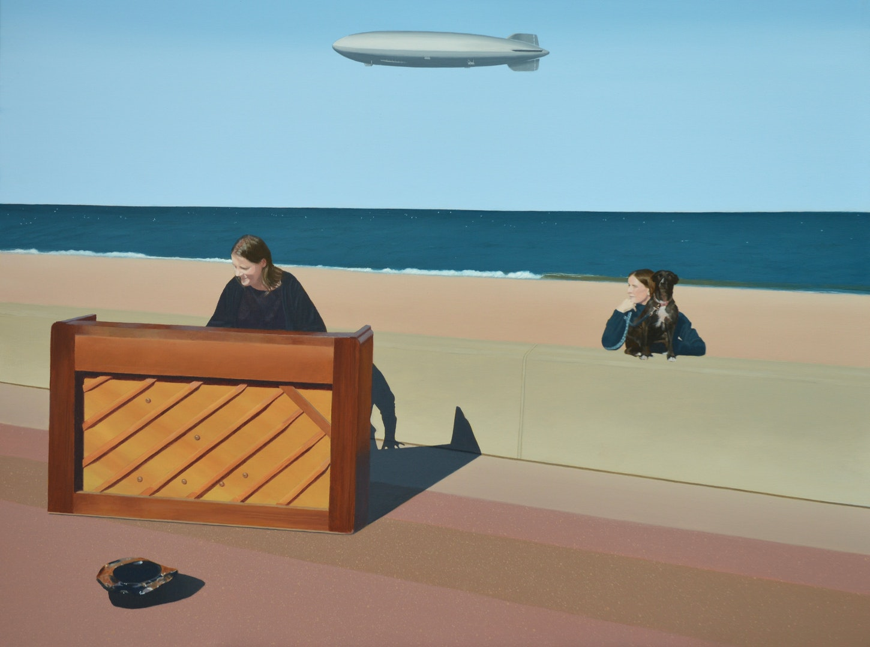 'Airship Over The Big Beach Busk', David Hamilton, Acrylic on Linen, 115 x 76 cm