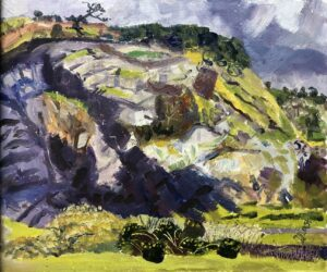 'Meldon Quarry 11.11.2020', Debs Last, Oil on board, 25.4 x 30.48 cm