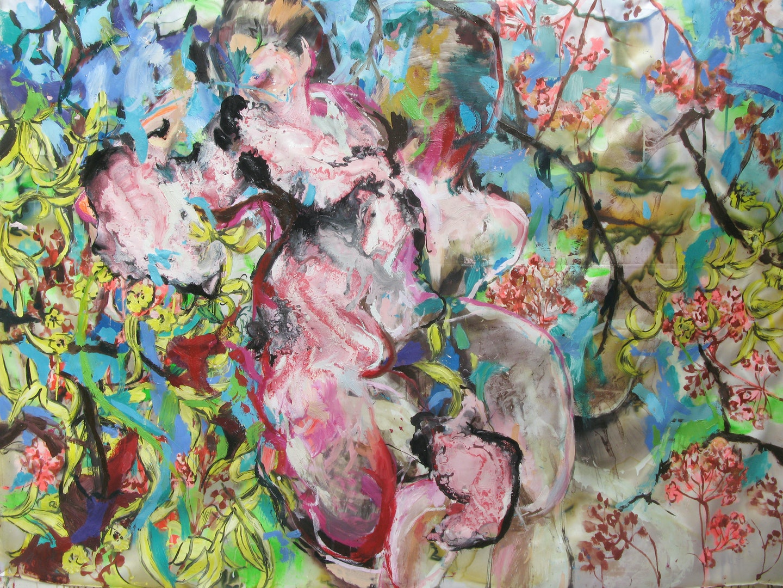 ID Life Tapestries 41', Di Masternak, Oil, mixed media on silk fabric, 110 x 100 cm