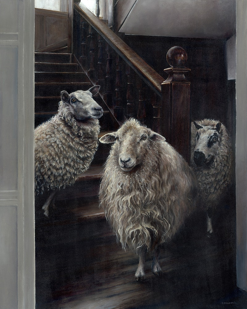 'Sheep on the Stairs', Diane Bellamy, Acrylic on canvas, 100 x 80 cm