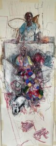 Mireille, Mary, Chloe and Rats', Diane Milner, Oil pastel and ink on paper, 152 x 57 cm