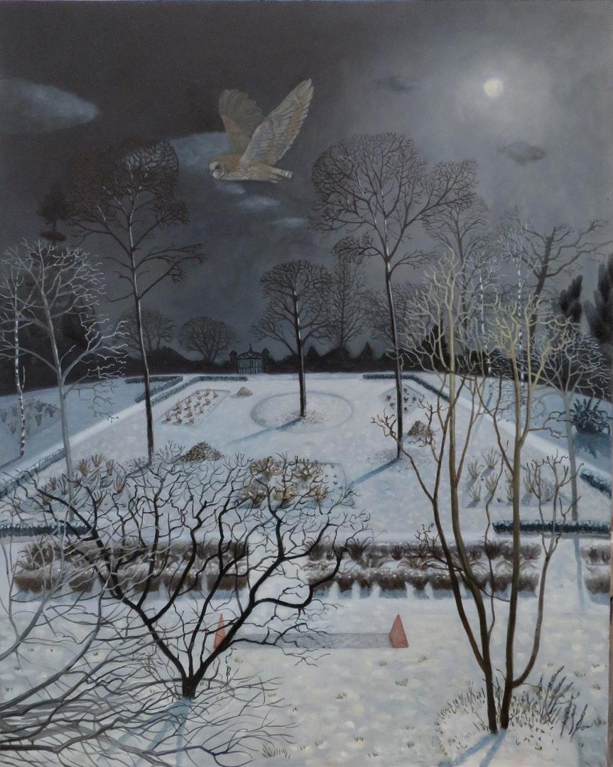 'Ornamental Gardens at Night', Donna McGlynn, Acrylic and oil on board, 61 x 49 cm