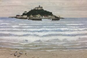 'St Michael's Mount Day', Edward Durdey, Oil on Indian teakwood marble, 50 x 70 cm