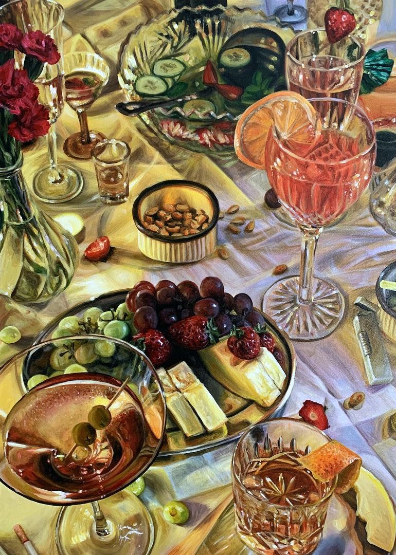 'Cocktail Party II', Emilia Symis, Acrylic on canvas, 70 x 50 cm