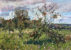 'Arundel orchard, late Summer', Emily Faludy, Oil on board, 30 x 45 cm