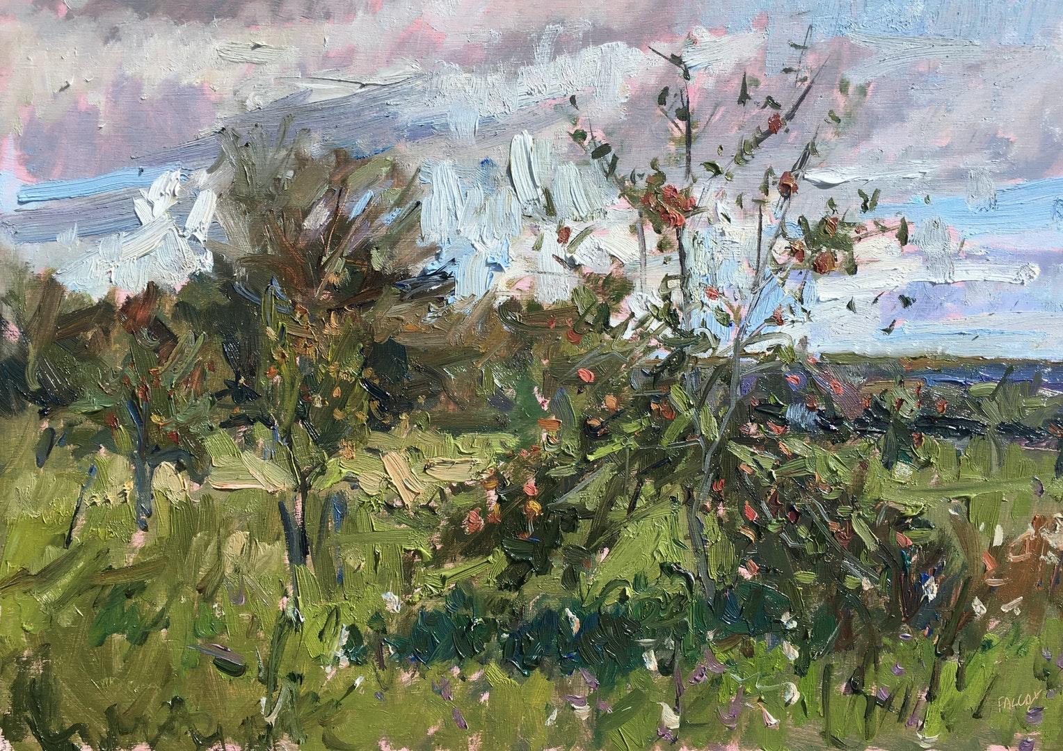 'Arundel orchard, late Summer', Emily Faludy, Oil on board, 30 x 45 cm