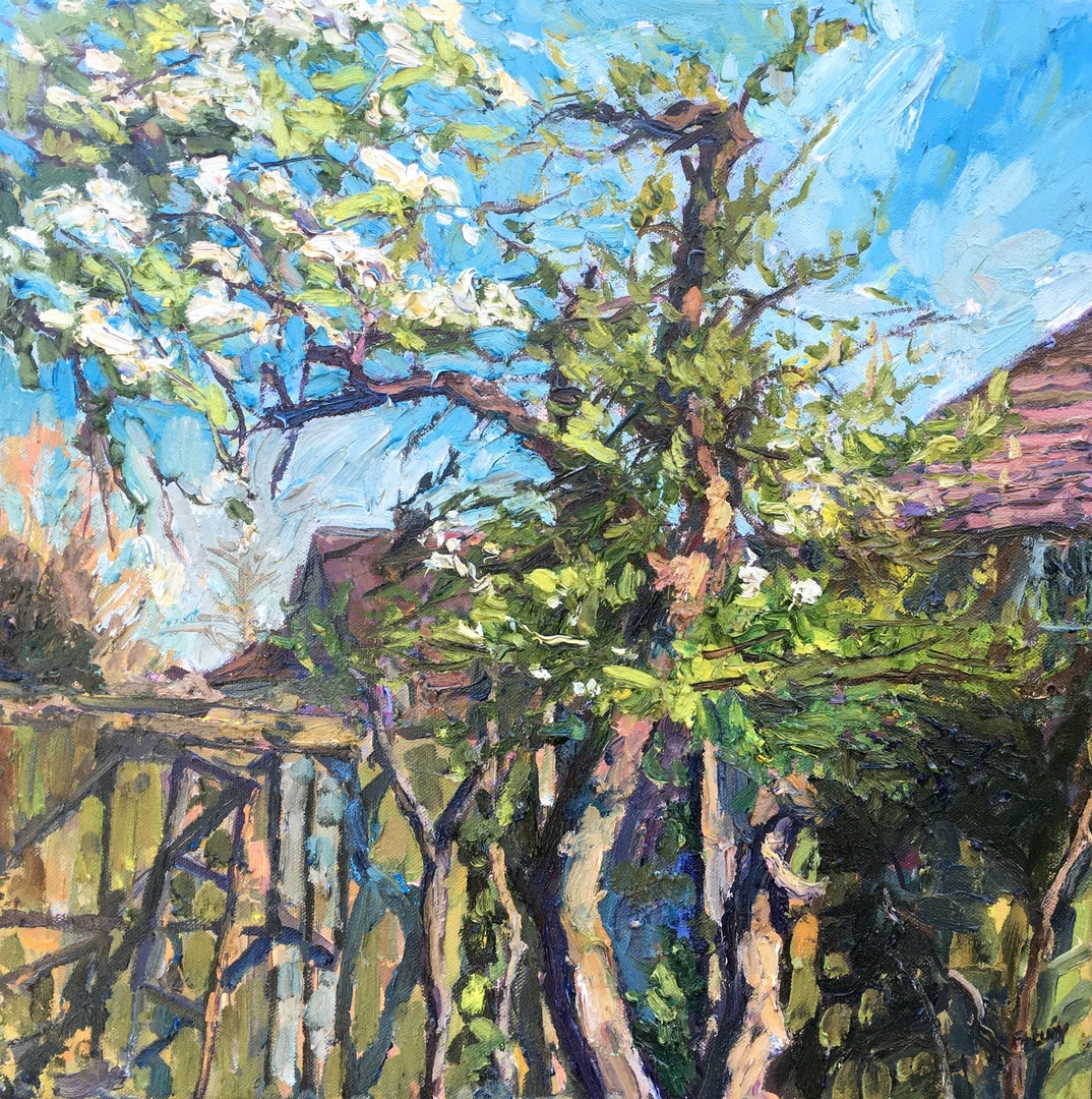 Blossom in the Spring Garden', Emily Faludy, Oil on canvas, 40 x 40 cm
