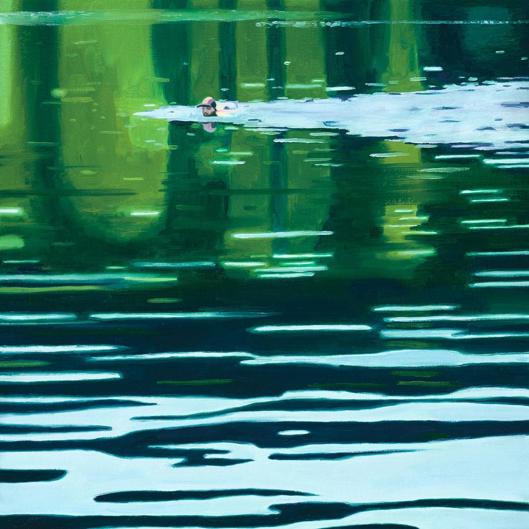 'Swimmer', Emma Foss, Oil on board, 27 x 27cm
