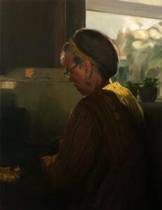 'Lunch outside', Emma Price, Oil on board, 32.5 x 25 cm