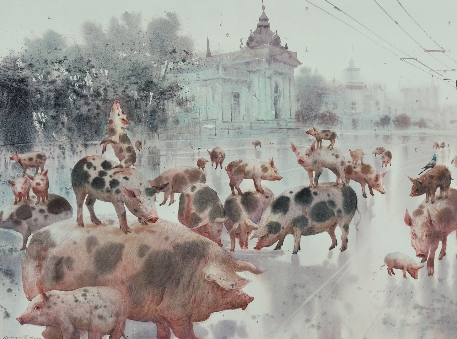 'Panic at Grand Hotel', Eugen Gorean, Watercolour on paper, 73 x 53 cm