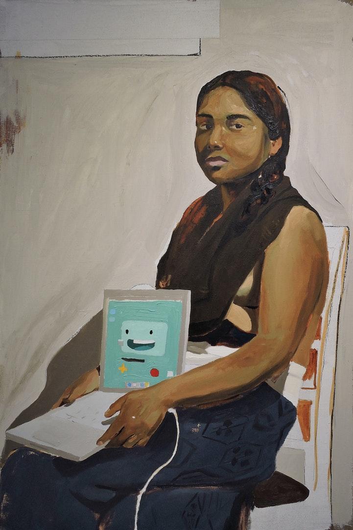 'Maria Holding a Mac; Scenes of conquest.', Francisco Ortiz Trejo, Oil on linen, 90 x 60 cm