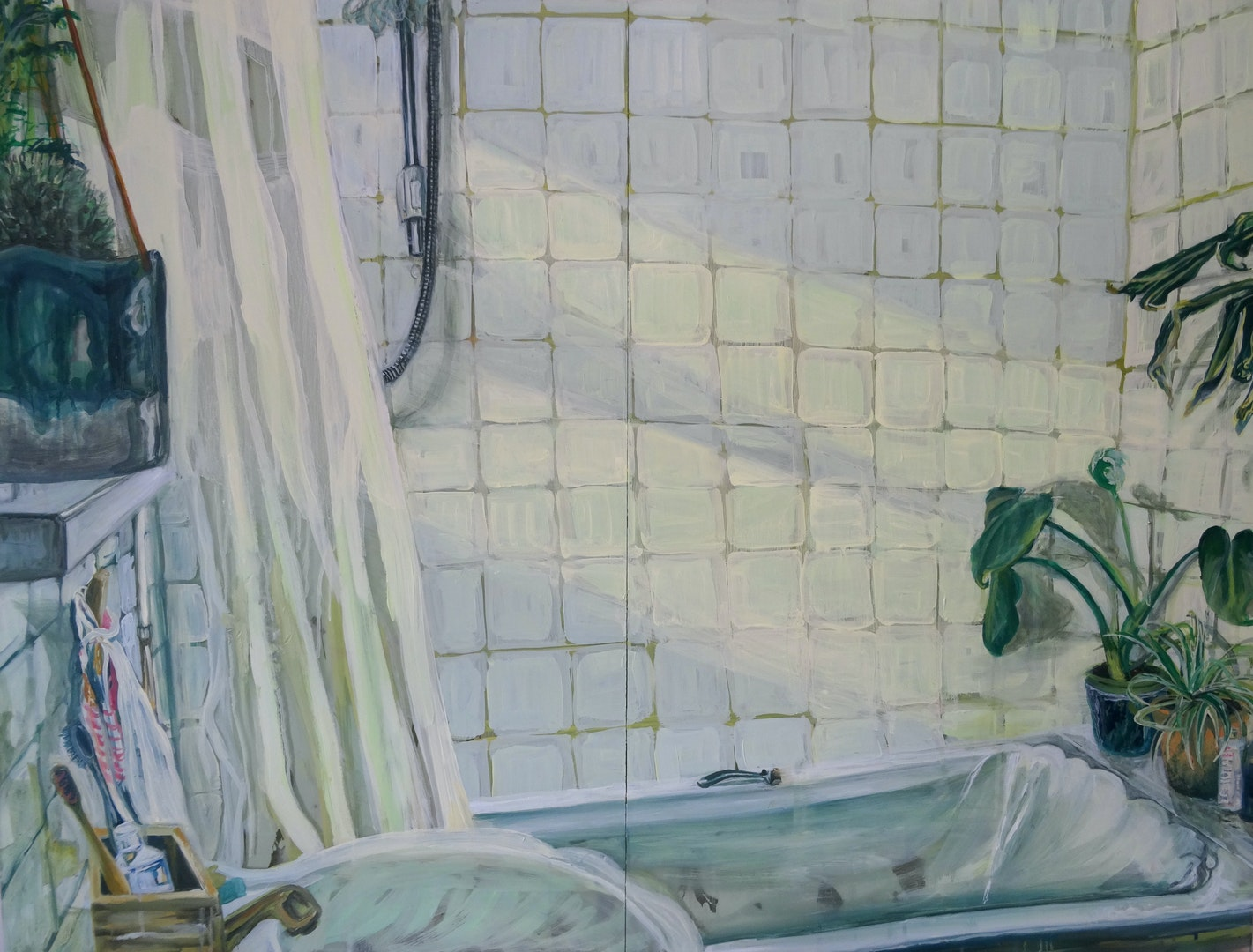 'White tiles', Gabrielle J Moore, Oil on clear perspex, 80 x 106 cm