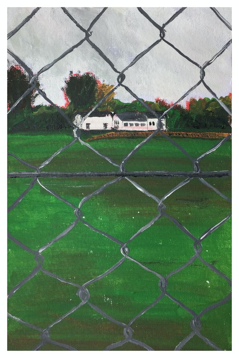 'Cricket Club', Gavin Shepherdson, Acrylic and pastels on paper, 14.8 x 21 cm