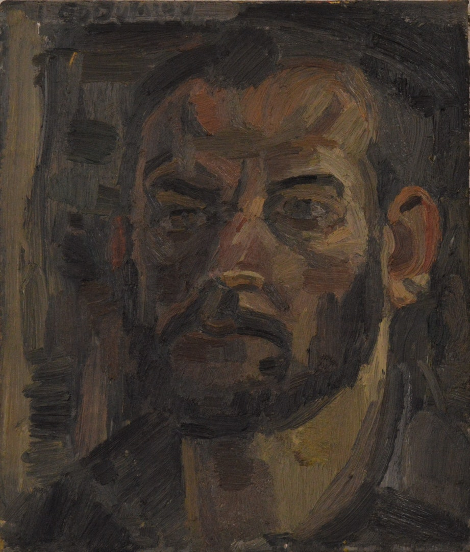 'Self portrait', Giannis Efthimiou, Oil on canvas, 25 x 35 cm