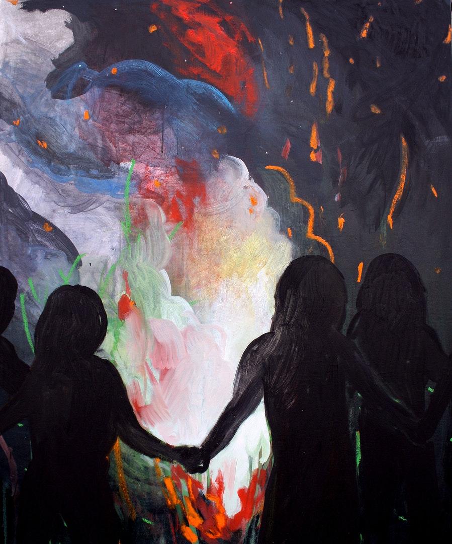 'Rainbow fire', Hanna Ilczyszyn, Acrylic and oil on canvas, 120 x 100 cm