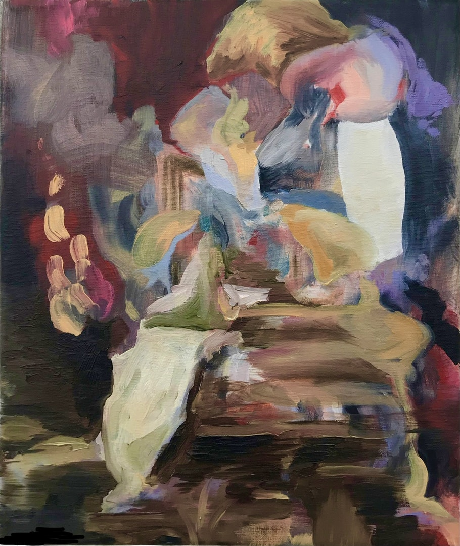 'Dismantling the past', Helen Bermingham, Oil on canvas, 30 x 25 cm