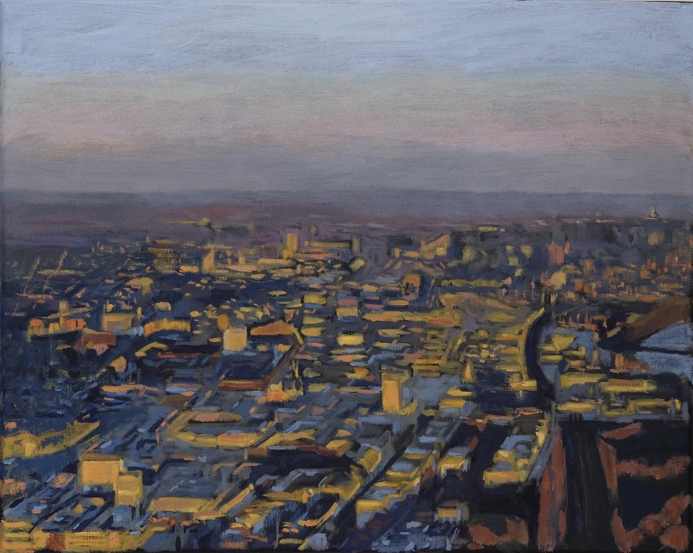 'Aerial View, London', Ian Kaye, Oil, 50 x 40 cm