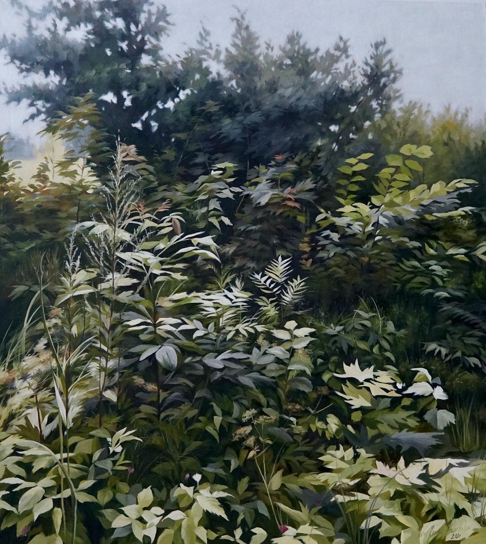 It is so beautiful - not to be beautiful', Ieva Kampe-Krumholca, Oil on linen, 110 x 100 cm