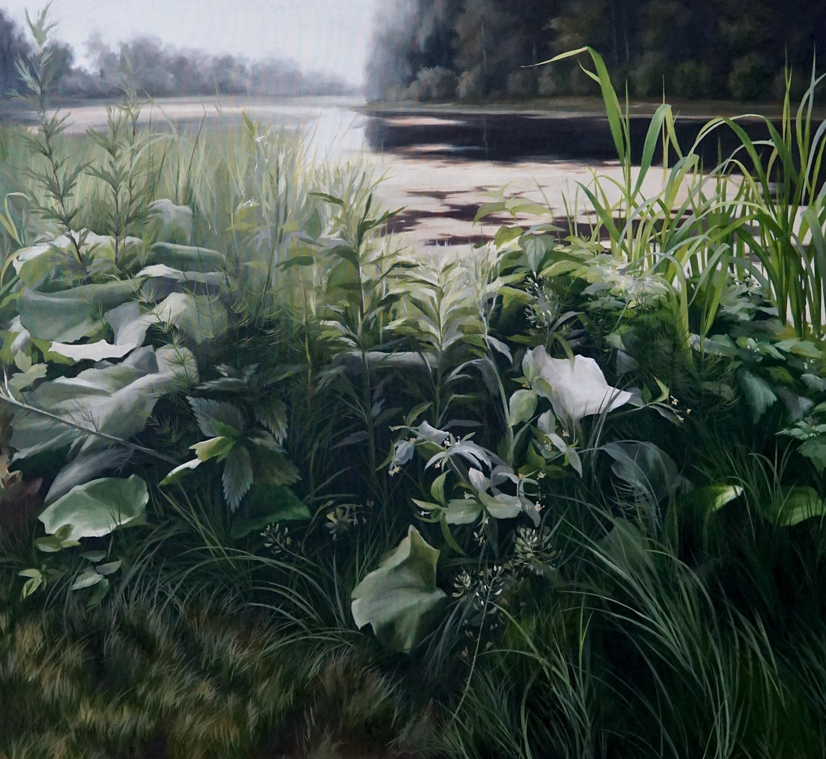 My invisible, dramatic everyday life', Ieva Kampe-Krumholca, Oil on linen, 100 x 110 cm