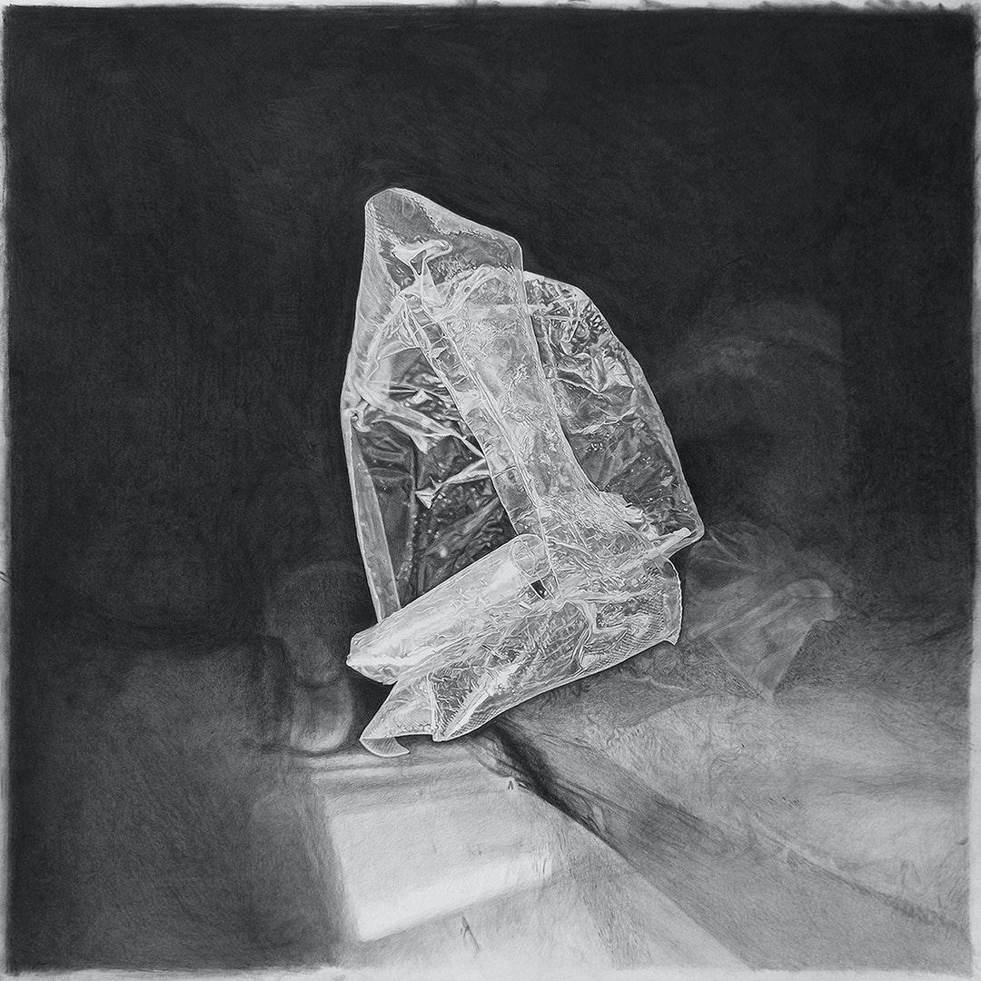 'Plastic Tofu wrapper', Ilana Dotan, Pencil and charcoal drawing on paper, 70 x 70 cm