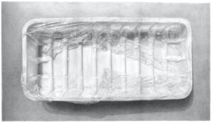 'Plastic tray with plastic wrap – Meatless 4', Ilana Dotan, Pencil drawing on paper, 40 x 70 cm