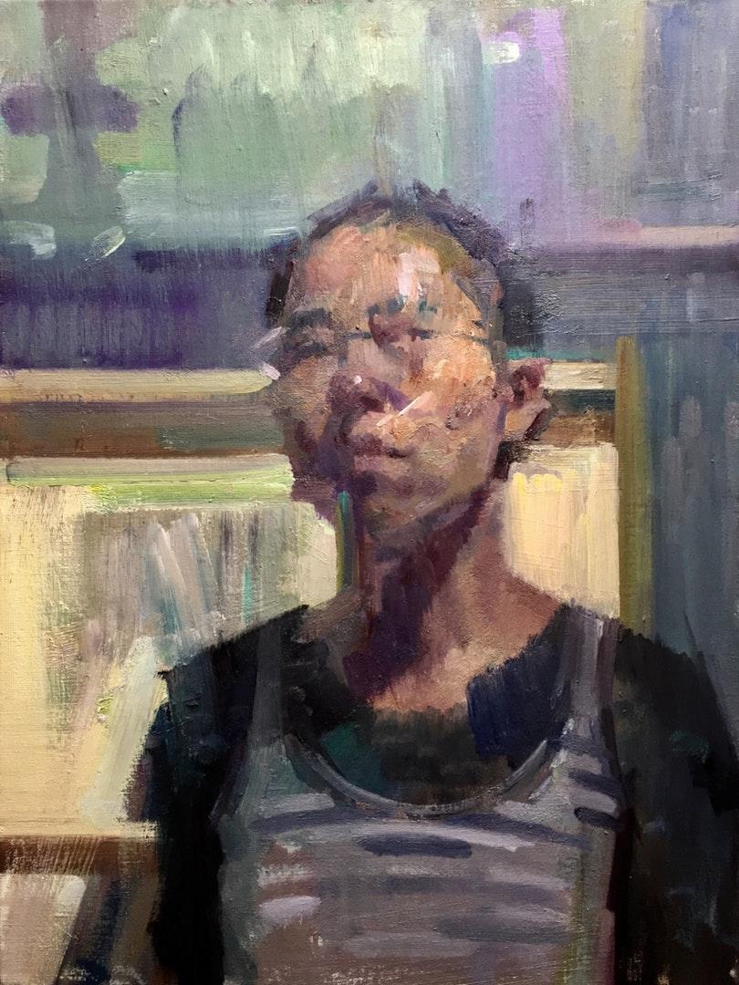 'The Light Bulb and Me', JaFang Lu, Oil on linen, 24 x 18 cm