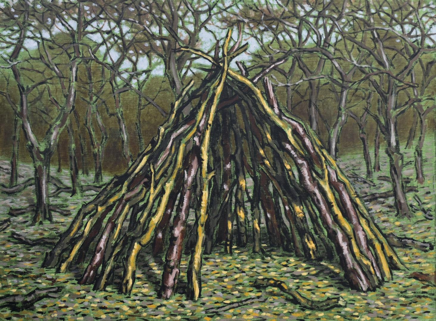 'Green Shelter', Jack Hicks, Acrylic on linen, 60 x 80 cm