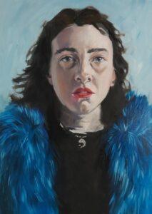 'The Blue Coat', Jael O'Connor, Oil on board, 59.4 x 42 cm