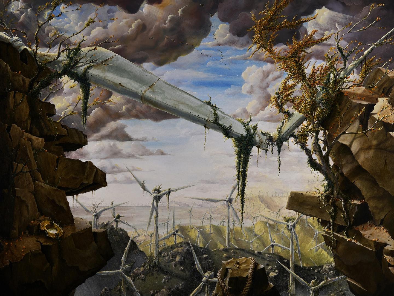 'Windmills 1. The Golden Helmet of Mambrino', James Mackie, Oil on canvas, 91 x 122 cm