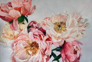 'Coral Sunset', Jana Leimane, Oil on canvas, 80 x 115 cm