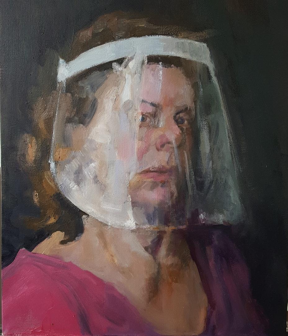 'Never The Bride. Self-portrait in visor.', Jane Kelly, Oil on canvas, 50 x 40 cm