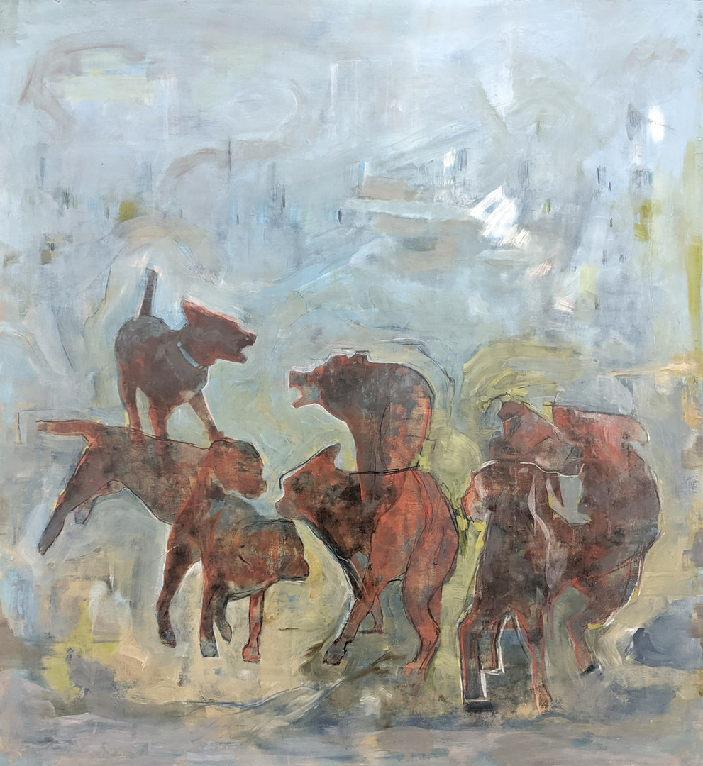 To Wander', Jason Macza, Collage, oil paint, oil pencil on panel, 43 x 43 cm