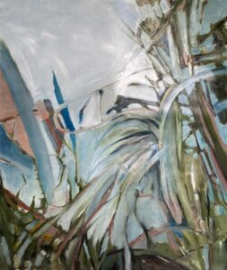 'Tangled up in Blue', Jenny Arran, Oil on Fabriano paper, 170 x 150 cm