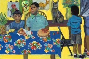 'Cats & Kids on Yellow', Jessica Alazraki, Oil on canvas, 109 x 165 cm