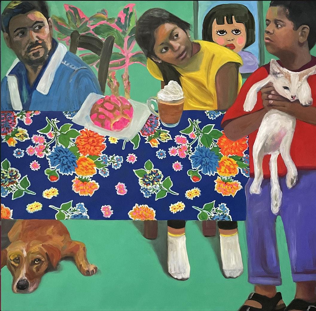 'Holding Cat', Jessica Alazraki, Oil on canvas, 106 x 106 cm