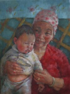 'Oldest & Youngest. Mongolia', Joan Prickett, Oil on canvas, 40.5 x 30.5 cm