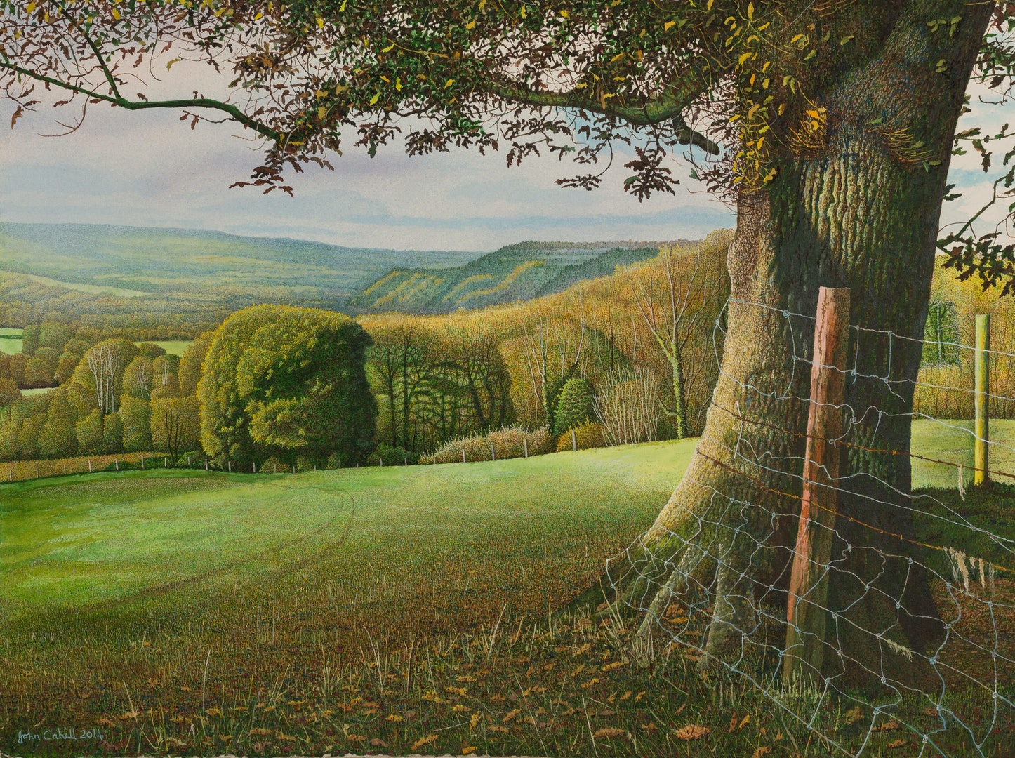 'View from Under an Autumn Oak', John Cahill, Acrylic and gouache on paper, 55 x 75 cm