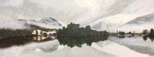 'Grasmere Island Winter Sunset', Jon Davidson, Acrylic on wooden panel, 42 x 112 cm