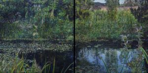 'An empty bliss in the Maelström', Jonathan Dickson, Oil on 2 wood panels (diptych), 61 x 122 cm