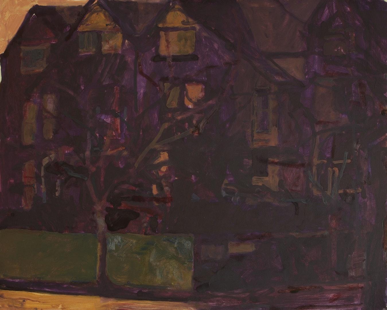 'Burton Crescent, Headingley, Leeds III', Jonathan Hooper, Oil on board, 41 x 51 cm