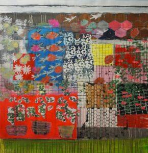 'Balcony, Tottenham', Kally Laurence, Acrylic on canvas, foil, 160 x 140 cm