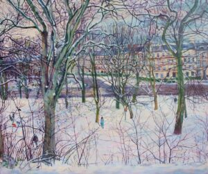 'Snow Day. London Road', Karen Laird, Acrylic on canvas, 50 x 60 cm