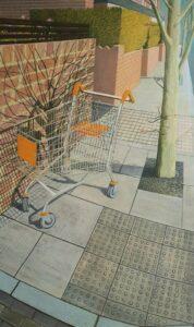 'Self Portrait as a Shopping Trolley', Kate Wilson, Oil on canvas, 150 x 95 cm