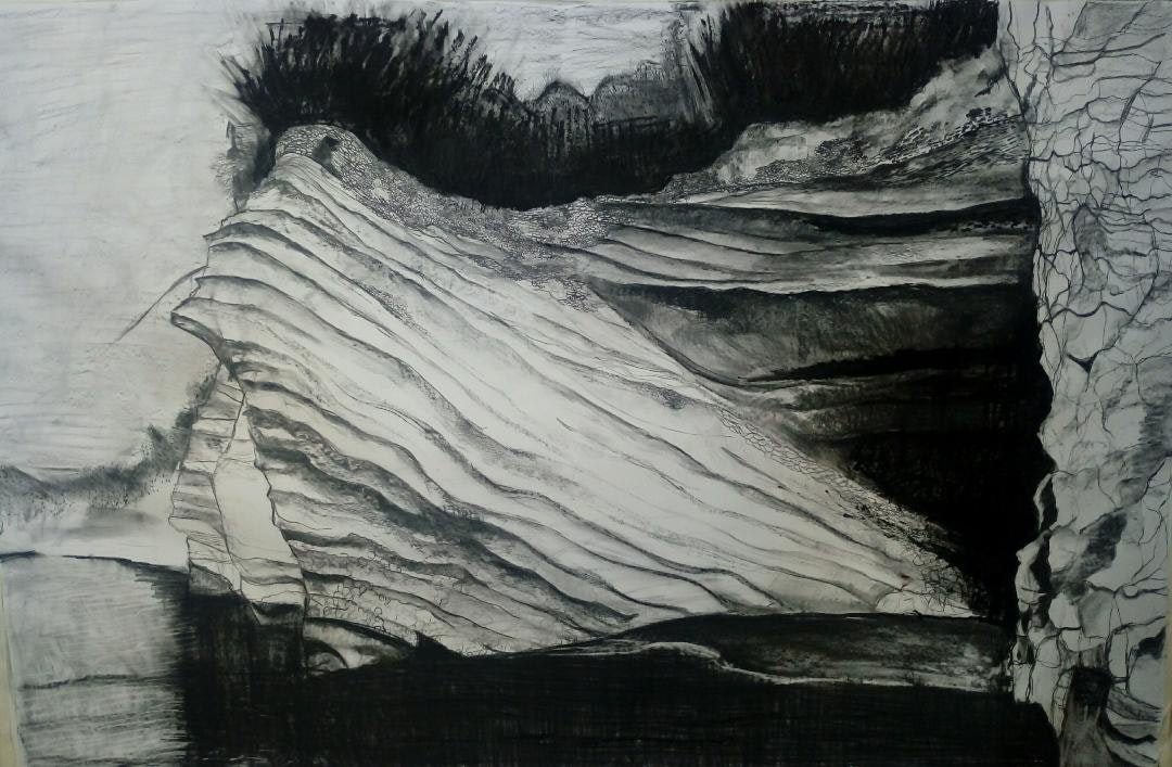 When you are near', Kelly Norman, Charcoal and oil stick on paper, 170 x 190 cm